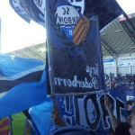 Ein Doppelhalter und einige blau-schwarze Fahnen im SCP-Fanblock.
