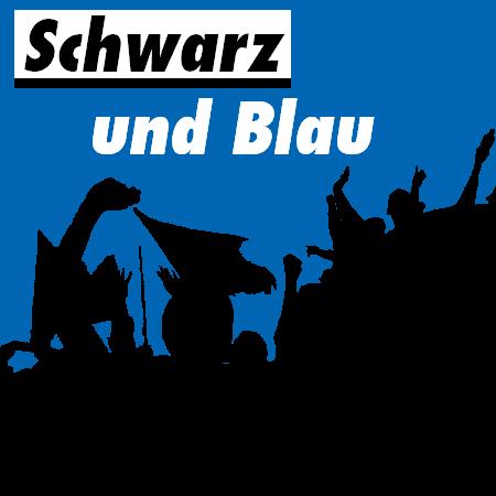 jubelnde Paderborn Fans in den Farben schwarz-blau stilisiert