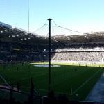 Blick aus dem Gästeblock auf das Spielfeld im Borussia-Park